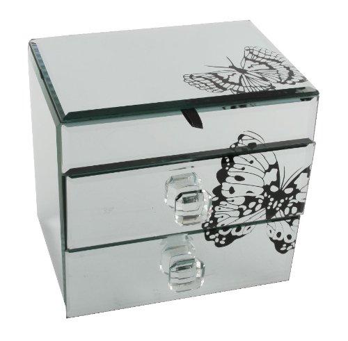 Hestia Mirror Jewellery Box  Black Butterfly