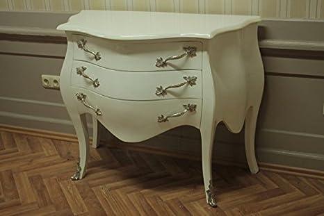 Barockkommode, lacada en colour blanco, 3 cajones, AlKm1023bWeSi-la