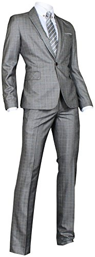 Ywwh Men'S Suit Jj74 Slim Fit Semi-Shiny Vested Suit 3 Pcs Set - Gray Plaid