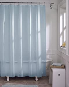 Light Blue Vinyl Shower Curtain Liner Hotel Grade