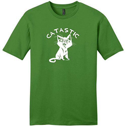Catastic, Cat Humor Young Mens T-Shirt Medium Kiwi Green
