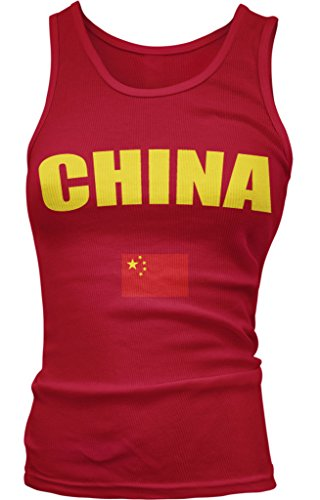 CHINA Country Flag Juniors Tank Top, Amdesco, Red Small