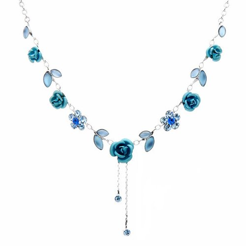 Glamorousky Elegant Rose Necklace with Blue Austrian Element Crystals (1029)