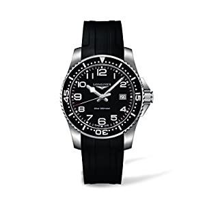 Longines Hydroconquest Men's Quartz Watch with Black Dial Analogue Display and Black Rubber Strap L36894532