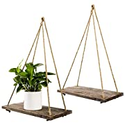 TIMEYARD Decorative Wall Hanging Shelf - Distressed Wood Jute Rope Floating Shelves - Rustic Home Wall Decor - Set of 2