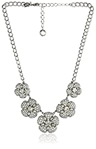 kate spade new york Encrusted Petals Clear and Silver Graduated Necklace