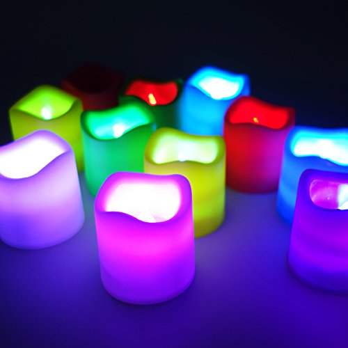 Set Of 12 Colour Changing Led Candles, Flickering Flameless Tea Lights Mood Light For Wedding Party Club Decor In Multicolor M-Ld027