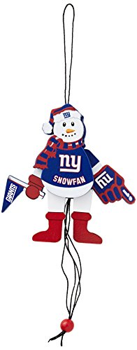 NFL New York Giants Wooden Cheering Snowman Ornament (Nfl Fan Pull compare prices)