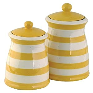 yellow white striped ceramic canister set 3 kitchen