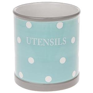 Utensils Holder Pot Duck Egg Blue With White Spots Dots