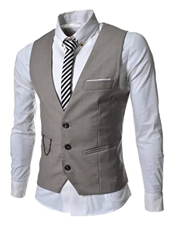 TheLees Mens slim fit chain point 3 button vest Beige Medium(US Small)
