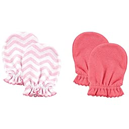 Luvable Friends 2-Pack Scratch Mittens, Pink Chevron
