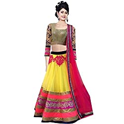 Awesome Fab Pink & Golden Colour Net Semi-stitched Embroidered Lehenga