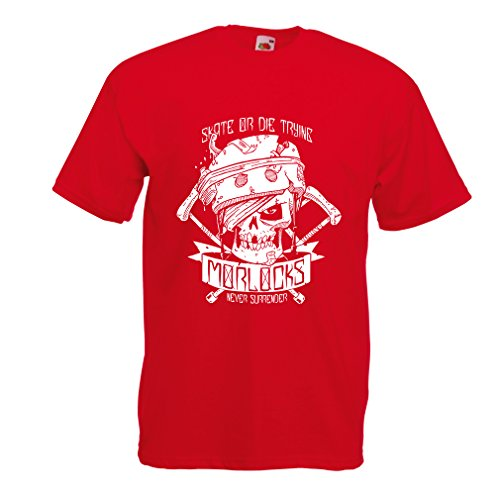 N4605 T-shirt da uomo Skate or Die Trying (Small Rosso Multicolore)