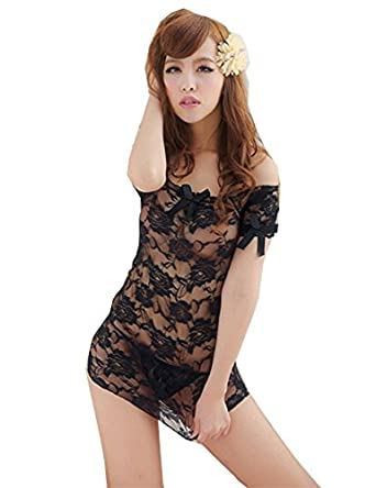 Nsstar Womens Lace See-through Boat Neck Lingerie Dress Babydoll with G-string (Black)