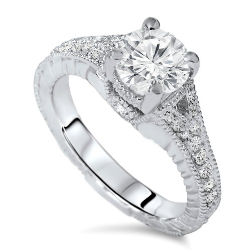 1.33CT Vintage Diamond Ring 14K White Gold