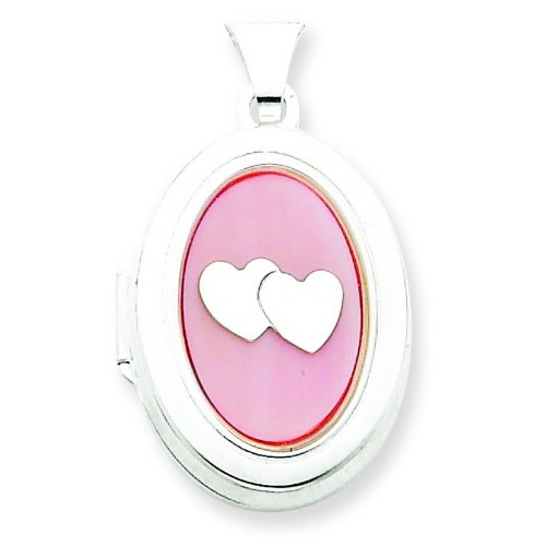 Silver MOP with 2 Hearts 2-Frame Oval Locket. Metal Weight- 1.63g.