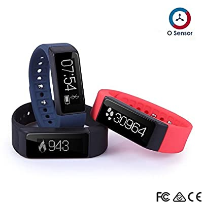 OUMAX FIT T3 Activity and Fitness Tracker (Pack Includes 3 Colored Bands)