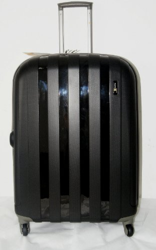 Luggage X - Set of 3 Lightweight Hard Shell Black Trolley Suitcases 30