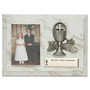"5""x7"" Boy and Girl Wood Plaque with Fine Pewter Communion Chalice Casting"