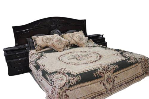 Tache 5 Piece Chenille Woven Summer Green Forest Quilt Bedspread, Cal King front-607034