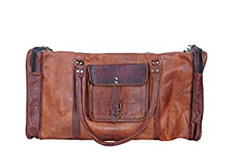 Passion Leather 21 Inch Square Duffel Travel Gym Sports Overnight Weekend Leather Bag