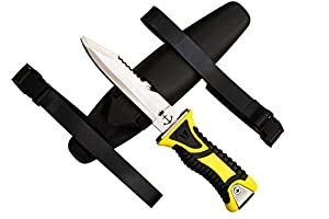 Scuba Dive Knife Deep Sea Excalibur Arthur, Blunt Tip Blade, High Quality Stainless Steel, with Sheath, Safety Line Cutter, Serrated Edge, and Two Flexible Nylon Straps