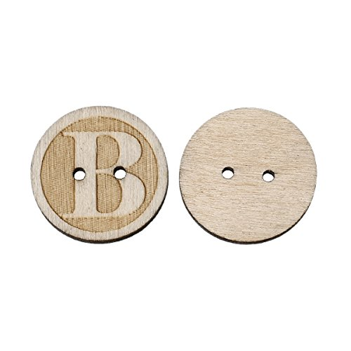PEPPERLONELY Brand 100PC 2 Hole Alphabet Letter B Scrapbooking Sewing Wood Buttons 25mm ( 1 Inch) (Alphabet Sewing Buttons compare prices)
