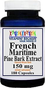 French Maritime Pine Bark Extract 150mg 180 Capsules