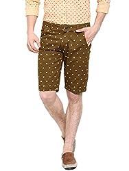 Showoff Men's Tan Slim Fit Printed Casual Chino Shorts