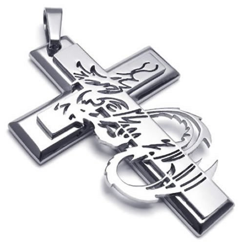 "24"" Konov Jewelry Mens Stainless Steel Gothic Dragon Cross Pendant Necklace, 24 Inch Chain"