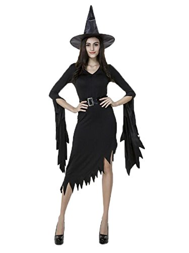 [Spring fever Women Cosplay Halloween Fairytale Gothic Witch Dress Costumes Black Medium/US Size 4-6] (Hot Halloween Costumes Devil)