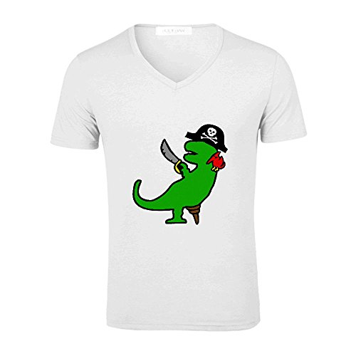 Pirate Dinosaur T Rex Fashion T Shirt For Men V Neck White