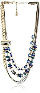 "Kenneth Cole New York ""City Surf"" Blue Mixed Bead Multi Row Necklace"