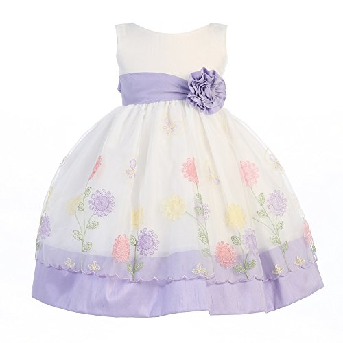 Lito Little Girls Lilac Organza Poly Silk Trims Flower Girl Easter Dress 2T-6