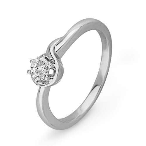 Sterling Silver Round Diamond Solitaire Promise Ring (0.07 cttw)