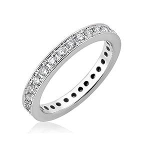 14k White Gold Pave-set Eternity Diamond Band Ring (3/4 Carat)