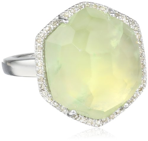 Sterling Silver Special Cut Prehnite and Diamond (1/10cttw, I-J Color, I2-I3 Clarity) Ring, Size 7