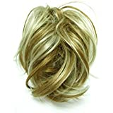 GIZZY® Ladies Girls Large Golden Blonde With Highlights Fake Hair Scrunchy on a Ponio Loop