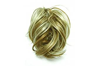 Super Fake Hair Scrunchy On A Ponio Loop. Large Size - Golden Blonde With Highlights.