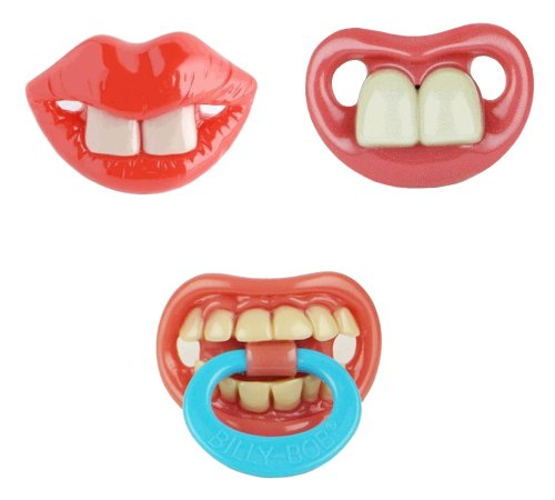 Billy Bob Baby Pacifier, 3 Pack (Two Front Teeth Broadway, Two Front Teeth & Thumb Sucker Pacifier) front-1011845