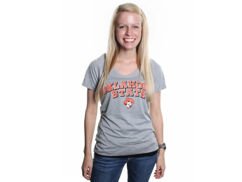Under Armour Womens S/S Tech Oklahoma State Cowboys Shirt True Gray Heather