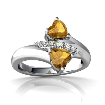 14K White Gold Heart Genuine Citrine Bypass Ring Size 6.5