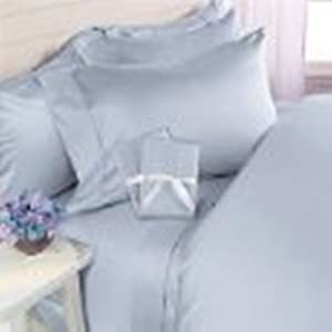1500tc Piped King 6pc Light Blue Sheet Set