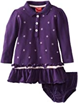 Izod Baby-Girls Infant Pique Long Sleeve Dress and Diaper Cover, Purple, 12 Months