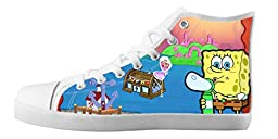 Renben Classic Nonslip Spongebob Kids Girl\'s Canvas Shoes Lace-up High-top Sneakers Fashion Running Shoes
