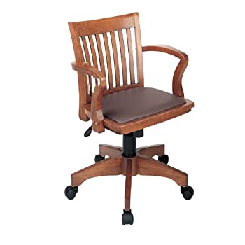 Office Star Deluxe Wood Bankers Desk Chair with Brown Vinyl Padded Seat, Fruit Wood