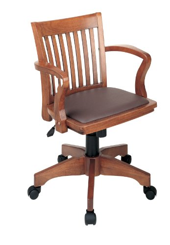 Office Star Deluxe Wood Bankers Desk Chair with Brown Vinyl Padded Seat, Fruit Wood 0