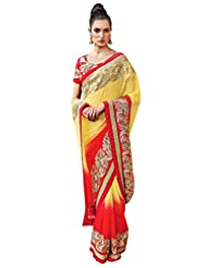 Anvi Creations Yellow Red Embroidered Chiffon Saree (Yellow_Free Size)