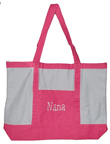 GETA discount duty free Custom Personalized 22 Inch Cotton Beach or Shopping Tote Bag (Personalized, Pink)